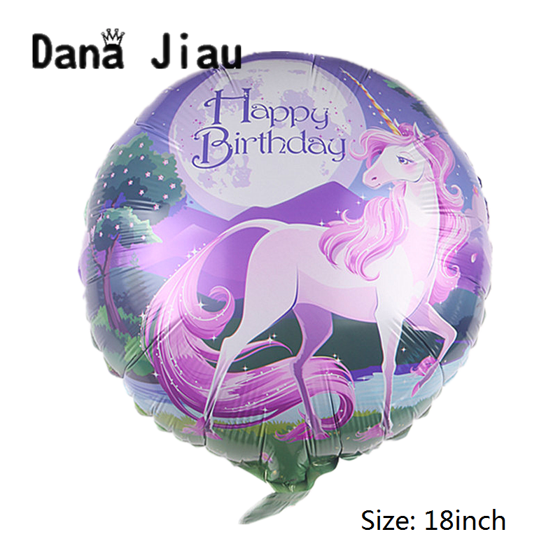 Wedding <font><b>18</b></font> Inch Purple Unicorn <font><b>Happy</b></font> <font><b>Birthday</b></font> Party Decoration Balloon Holiday Castle Aluminum Inflatable Ball Baby Shower Toy image