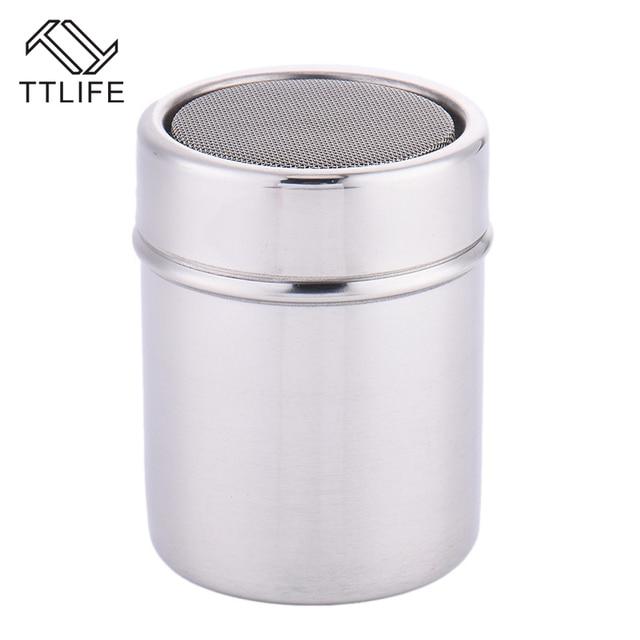 TTLIFE New 1Pc Stainless Steel Sprinkle Cocoa Cinnamon Sugar Gauze Mesh Jar Seasoning Bottle Fancy Coffee Powder Duster 4