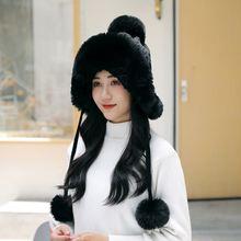 Женская шапка бомбер зимняя для женщин шерстяная плюшевая сохраняющая