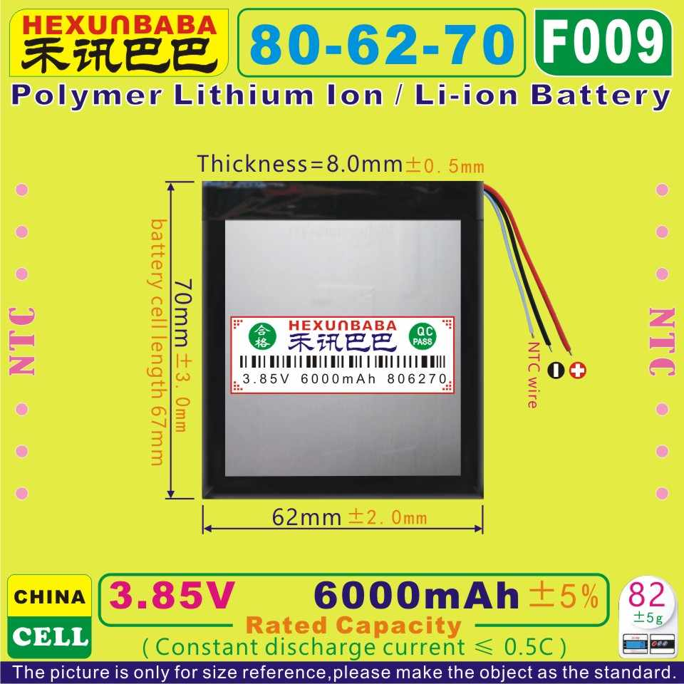 [F009] 3.85 v, 3.8 v, 3.7 v 6000 mah [806270] bateria de íon de lítio de polímero/li-ion para tablet pc, banco de potência, telefone celular; mp3, gps, dvd