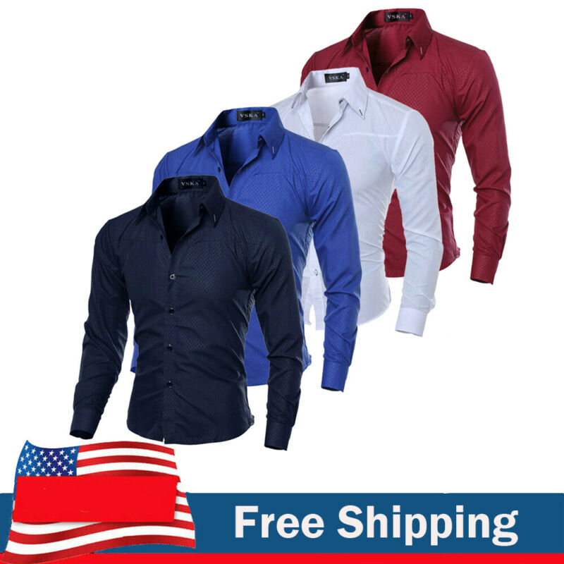 2020 Fashion Men Luxury Casual Formal Shirt Wedding Party Decent Long Sleeve Slim Fit Tops Business Office Work Outwear Shirts