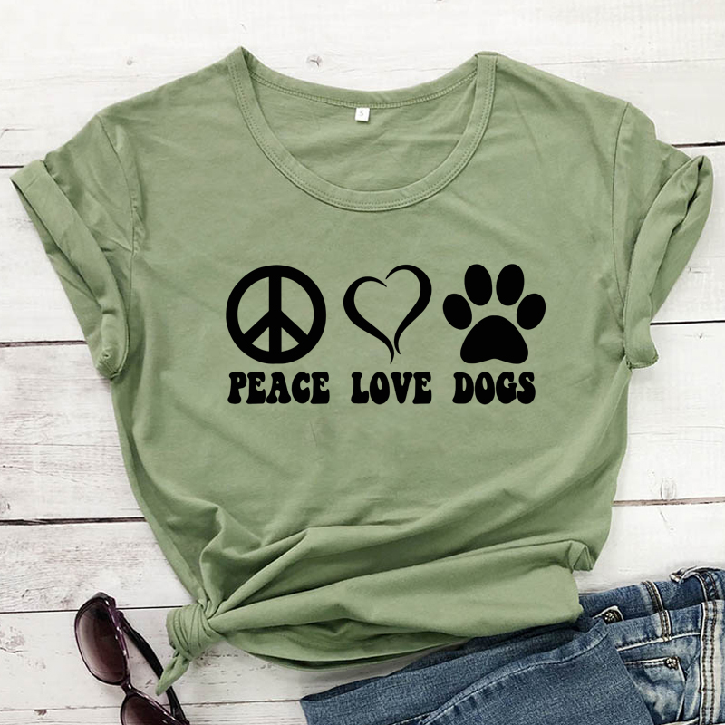 Peace Love Dogs 100%Cotton T-shirt Aesthetic 90s Tumblr Dog Mom Gift Tee Shirt Top Funny Women Graphic Slogan Tshirt Drop Ship image