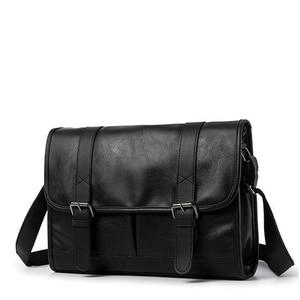 Image 2 - ファッション男の革ショルダーバッグバッグ旅行バッグ男性ブリーフケースブランドの高級メッセンジャーバッグ男性のラップトップビジネスクロスボディメンズバッグ