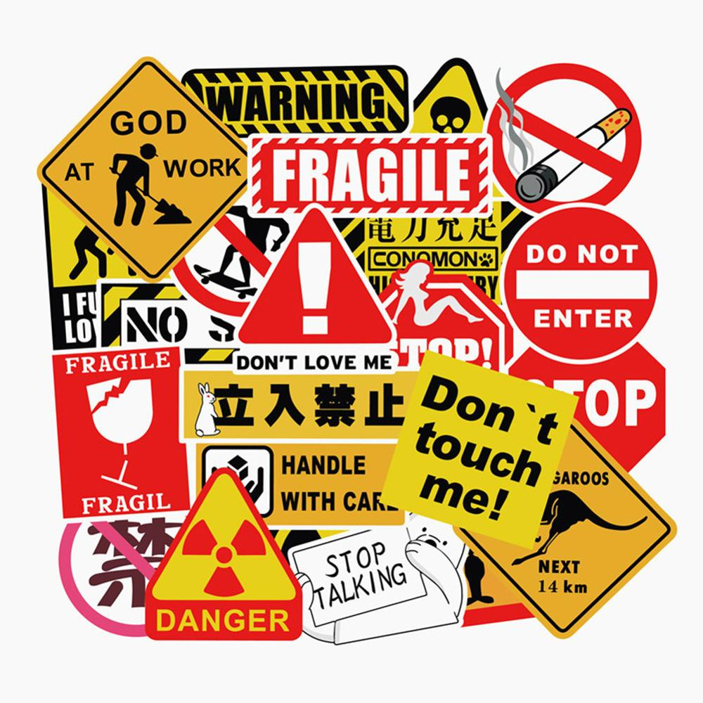 Skateboard-Pad Warning-Stickers Laptop Graffiti Spoof Cool Bicycle-Luggage-Decal Facegoo-Lite