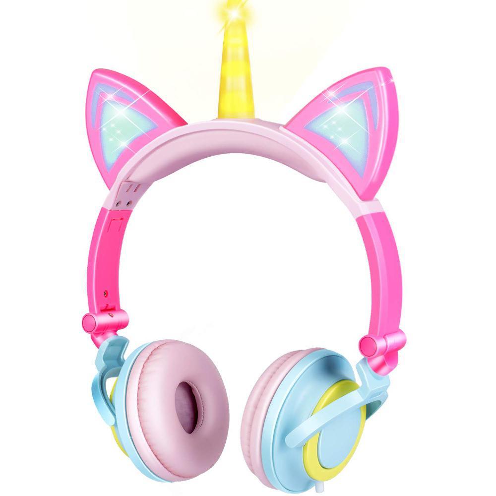 Cute Kids Cat Ear Kids <font><b>Headphones</b></font> for Boys Girls Wired Adjustable Tablet Kids Headband Earphone Foldable Over Game Headset