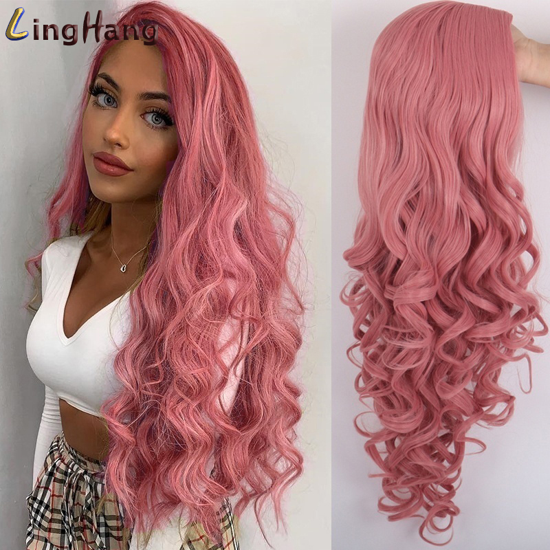 LingHang Long Wavy Red Wigs Purple And Black Wave Synthetic Wig For Women Natural Middle Part Heat Resistant Hair
