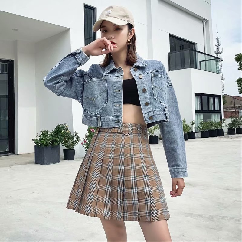 Pleated Women's Spring And Autumn New Short High-waisted Slimming Anti-Exposure A- Line Retro Skirt College Style Belt Fashion