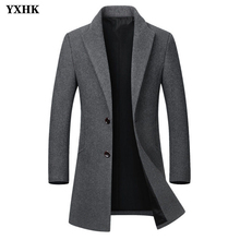 2019 New Brand Winter Wool Jacket Mens High-quality Coat Casual Slim Collar Long Cotton Trench
