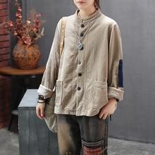 NINI WONDERLAND Women Corduroy Jacket Coats Autumn Stand Collar Long Sleeve Loos