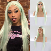 Charisma Glueless Wig Long Straight Hair Light Green Lace Front Wig Synthetic Wigs For Black Women Free Part Cosplay Wig