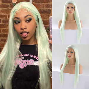 Image 1 - כריזמה Glueless פאה ישר שיער Ombre בלונדינית תחרה מול פאה קצר חום שורשים מלא צפיפות סינטטי פאות לנשים שחורות