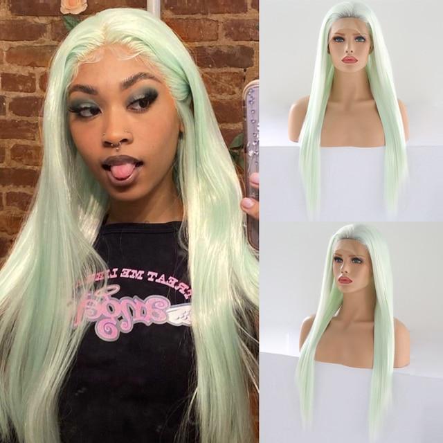 כריזמה Glueless פאה ישר שיער Ombre בלונדינית תחרה מול פאה קצר חום שורשים מלא צפיפות סינטטי פאות לנשים שחורות