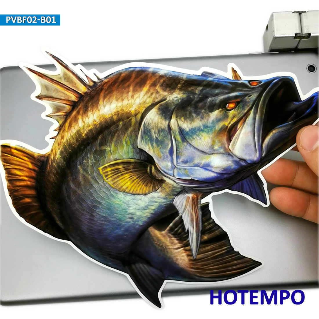 20cm 7.87inch Big Size Golden Fish Largemouth Bass Perch Stickers For Laptop Luggage Skateboard Car Fishing Box Bucket Stickers