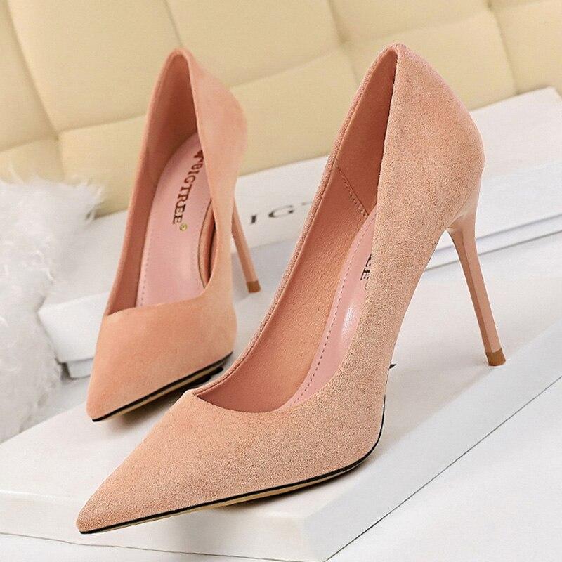Women Banquet Suede Pointed Toe Stilettos High Heels Court Shoes Pumps Size 3-9