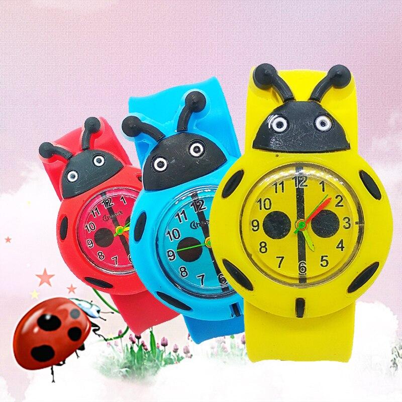 Fashion Cartoon Bee Ladybug Slap Pat Watch Children Sports Quartz Wrist Watch Baby Girls Boys Gift Students Kids Watches Clock