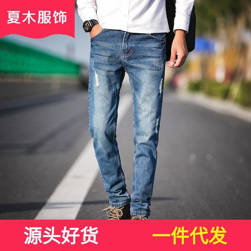 2019 Spring New Style Men Classic Modeling Jeans Men's Korean-style Slim Fit Jeans Men's Versatile Fashion