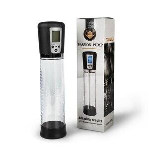 Image 1 - Pênis bomba vibrador eletrônico display lcd usb recarregável masculino bomba de vácuo pênis ampliação bomba automática brinquedos para adultos