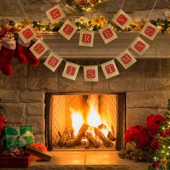 A-亜麻メリークリスマスレターパターンホオジロバナー壁掛け旗クリスマスkerstバナーストリーマー1