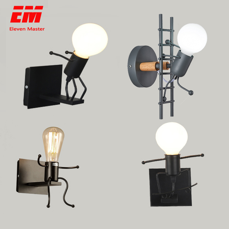 Modern Cartoon Doll Wall Light Fixtures LED Creative Mounted Iron  Bedside Sconce Lamp for Kids Baby Room Living Room ZBD0008