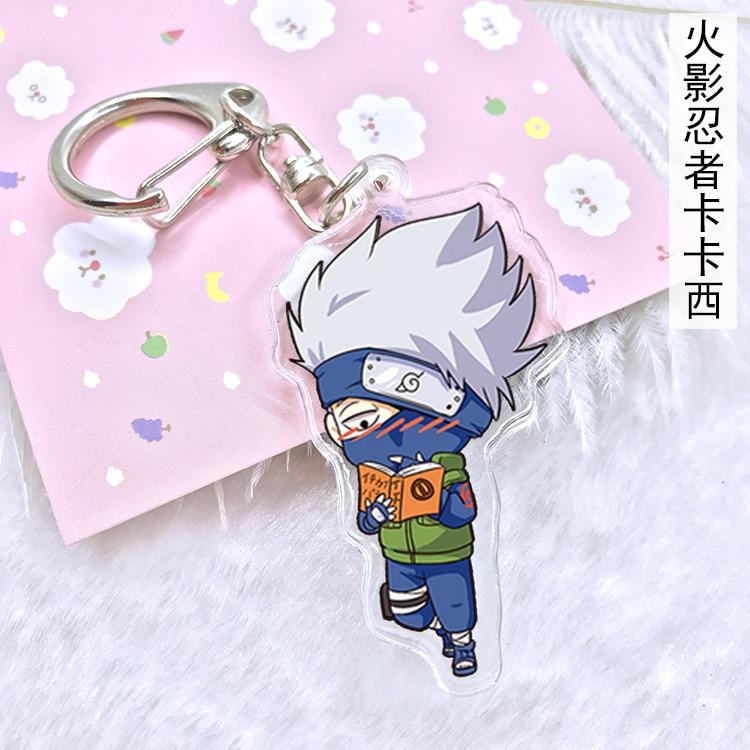 Cartoon Acrylic Keychain Naruto Sasuke Kakashi Cute Keyring Bag Pendant Anime