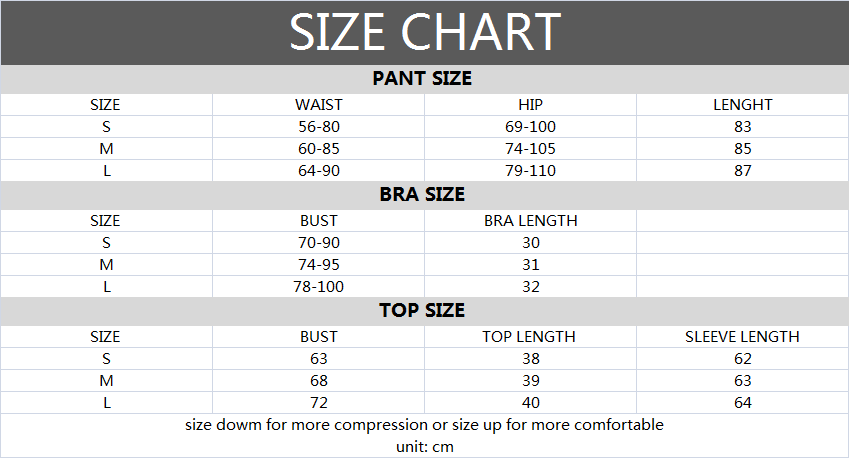 Size Chart of Workout Set