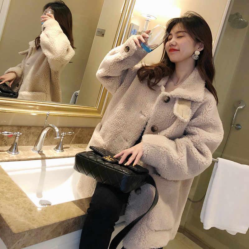 Gerçek kürk ceket kadınlar kore sevimli sıcak yün ceket sonbahar kış koyun kürk ceket rahat Abrigos Mujer Invierno 2020 YY546