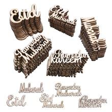 15/30/60 Pcs Eid Mubarak Trucioli di Legno Decorazione Musulmano Eid Mubarak Ramadan Coriandoli di Alfabeto In Legno Ornamenti FAI DA TE Scrapbooking Artigianato