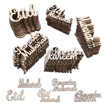 15/30/60 Pcs Eid Mubarak Wood Chips Decor Muslim Eid Mubarak Ramadan Alphabet Wooden Confetti Ornaments DIY Scrapbooking Crafts