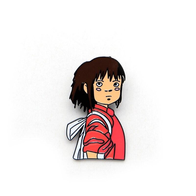 Hayao Miyazak Anime Brooches Spirited Away Chihiro Enamel Pin For Boys Girls Lapel Pin Hat/bag Pins Denim Jacket Girl Brooch D60