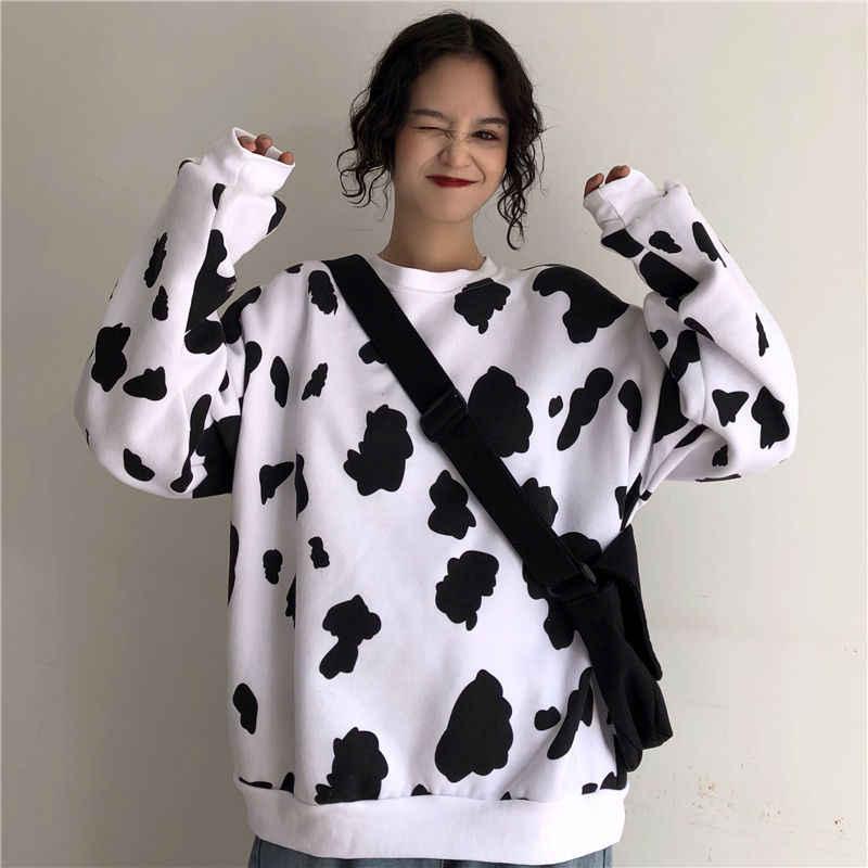 암소 귀여운 스웨터 긴 소매 셔츠 하라주쿠 스타일 느슨한 플러스 벨벳 풀오버 여성 가을을위한 따뜻한 탑 스웨터