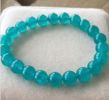 free shipping 7.5-8mm Natural Mozambique Amazonite Gems Beads Bracelet AAA