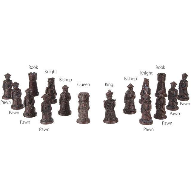 32 pièces/ensemble bois échecs chinois rétro terre cuite Chessman échecs bois faire vieux sculpture résine Chessman anniversaire cadeau de noël 6