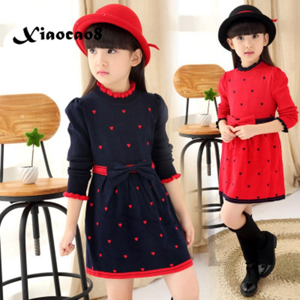 2019 Winter Kids Knitted <font><b>Dresses</b></font> for <font><b>Girls</b></font> Elegant Bow Cute Heart Princess <font><b>Dress</b></font> Children Teens <font><b>Christmas</b></font> <font><b>Dress</b></font> Clothes in <font><b>Red</b></font> image
