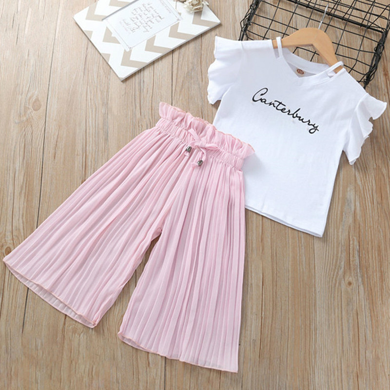 Summer 2020 Girls Clothing Sets Kids T-shirt +Wide Leg Pants Suits Children Short Sleeve Baby Girl Clothes 5 6 7 8 9 10 12 Years