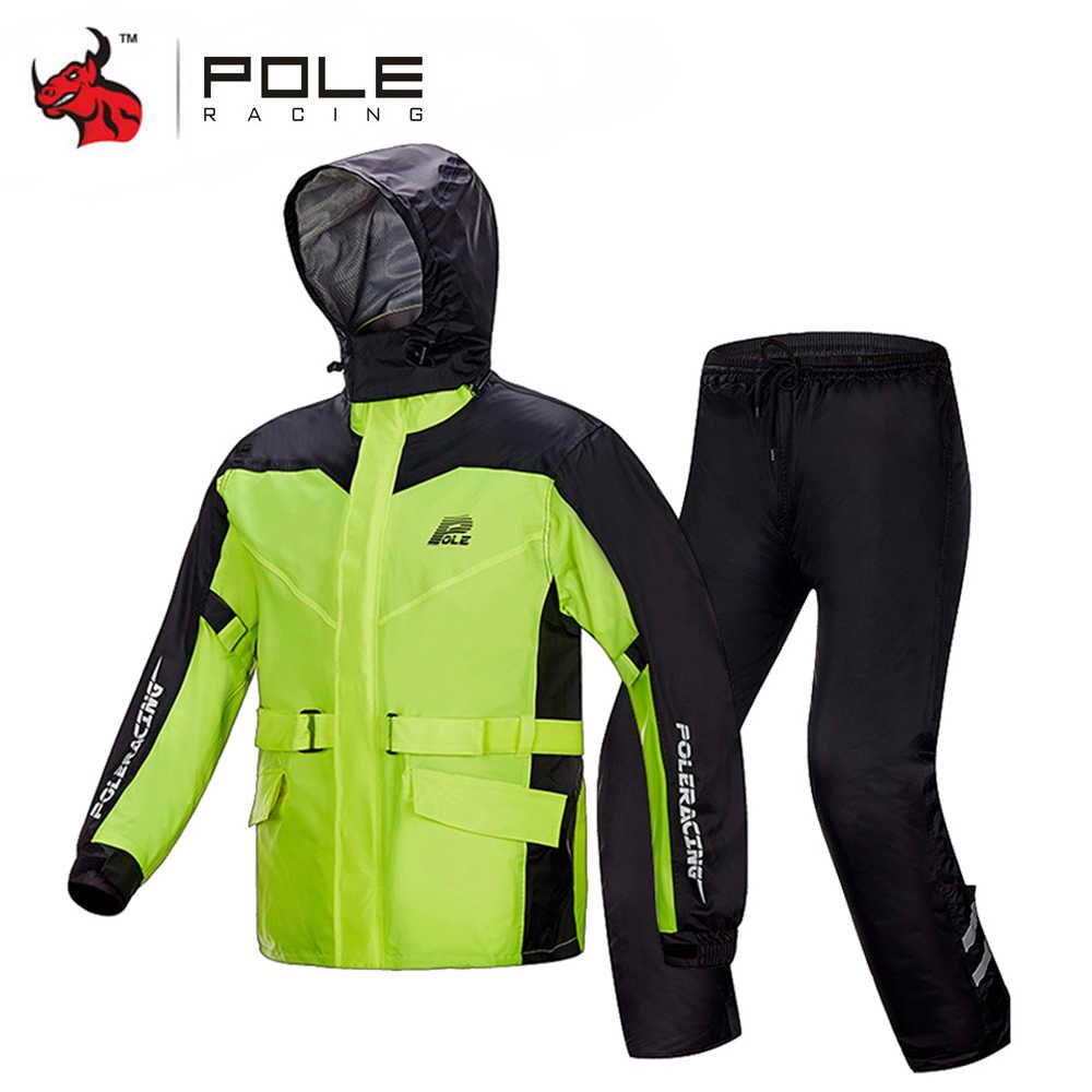 Chubasquero de motocicleta + Pantalones de lluvia Moto traje de lluvia ventilar Poncho impermeable Moto chaqueta de lluvia