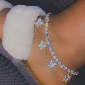 Butterfly Anklet Jewelry Foot-Chain Rhinestone Women Summer Fashion for INS