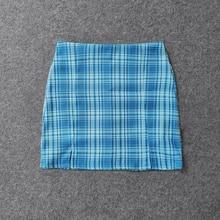 Summer Yuansu Plaid Pencil Pleated Short Skirt Women
