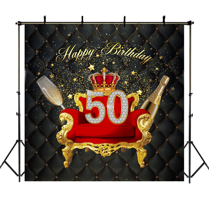 <font><b>Happy</b></font> <font><b>50th</b></font> <font><b>Birthday</b></font> <font><b>Backdrop</b></font> Red Golden Crown Sofa Photo Background <font><b>50th</b></font> <font><b>Birthday</b></font> Champagne Shiny Stars Black Banner <font><b>Backdrops</b></font> image
