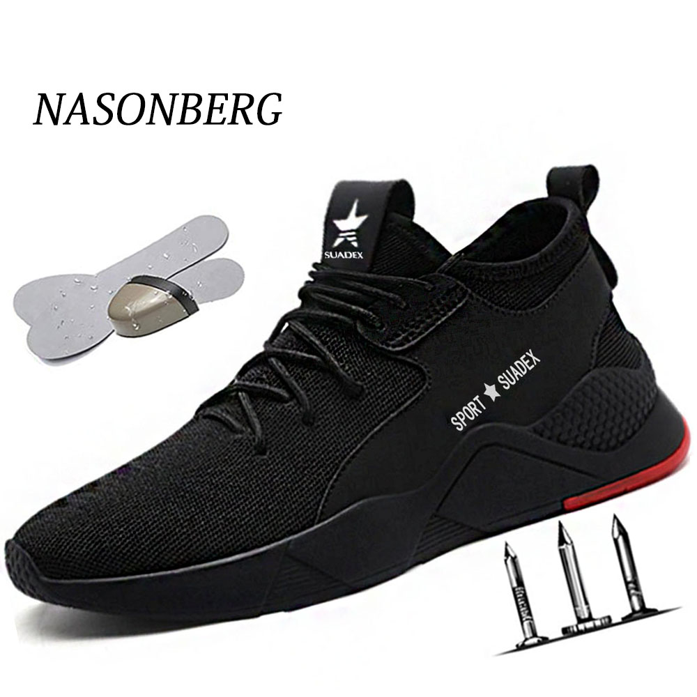 Dropshipping Work Shoes Breathable Comfortable Men Boot Non-slip Steel Toe Cap Safety Shoes European Standard Anti-static