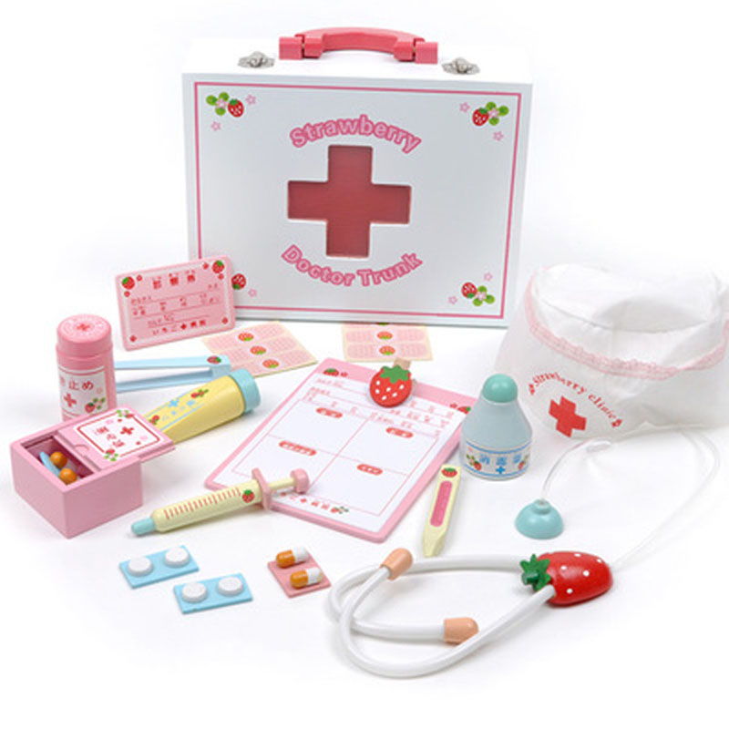 Wooden Doctor Toys Kids Medicine-Box Japanese Simulation Medical Tools Kit Strawberry Clinic Role Play Medicine Accessories