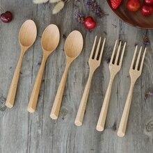Деревянная вилка и ложка набор натуральная деревянная посуда ручная работа деревянная ложка подходит для пасты ужин чай салат десерт Картофель чип