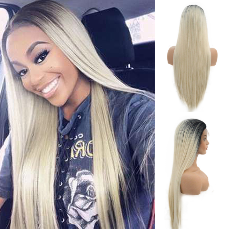 RONGDUOYI Ombre Blonde Silky Straight Long Hair Synthetic Lace Front Wig Heat Resistant Fiber Wigs for Women Natural Hairline
