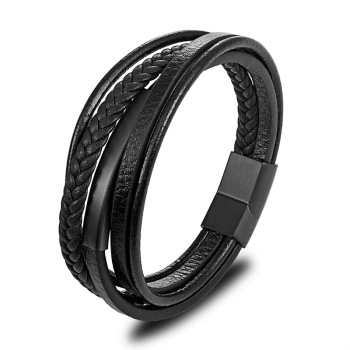 2019 Fashion Punk Black Braided Leather Bracelets Bangles  Magnetic Buckle Sample Bracelet Handmade Jewelry for Men jiayiqi men multilayer braided leather bracelet stainless steel magnetic clasp bangles fashion punk male jewelry