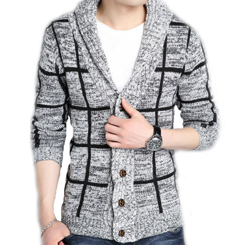 Winter Men Sweater Coat Striped Single-breasted Jacket Christmas Casual Turndown Collar Knitting Male Cardigan Sweaters 2XL J960