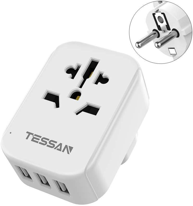 Enchufe adaptador de viaje para UE TESSAN, con enchufes universales de CA y 4 puertos de carga USB para teléfono móvil, enchufe CA para EE. UU./UE/AU/UK Enchufe europeo, GSM, enchufe inteligente, inglés, ruso, SMS, Control remoto, interruptor de sincronización, controlador de temperatura con Sensor, enchufe de toma de corriente
