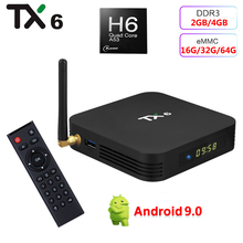 TX6 4 Гб RAM 32 Гб 64 Гб ROM Smart Android 9,0 TV Box Allwinner H6 медиаплеер 2,4G 5G Wifi Bluetooth 4,1 4K HD 2G 16G телеприставка