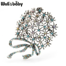 Wuli&baby Retro Gold Silver Round Flower Brooches Women Alloy Weddings Banquet Brooch Pins New Years Gifts