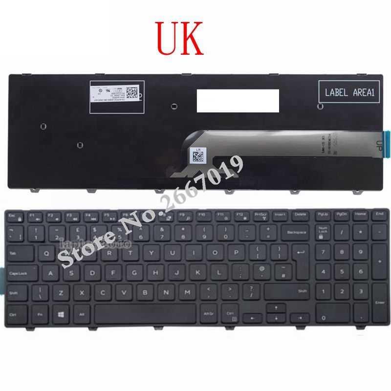 Teclado US/UK/SP para Dell Inspiron 15 3000 5000 3541 3542 3543 5542 3550 5545 5547 3551 3552 3559 3565 3567 3551 3558 5566 5748
