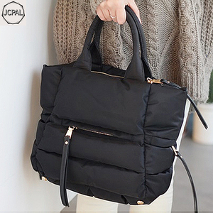 Image 1 - 2018 New Winter Space Bale Handbag Woman Casual Space Cotton Totes Bag Down Feather Padded Lady Shoulder Crossbody Bag