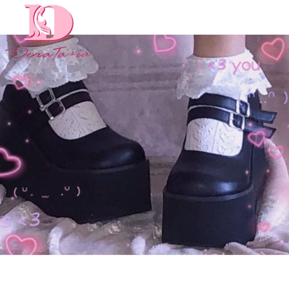 DORATASIA nuovissimo Lolita femminile carino Mary Janes pompe zeppe piattaforma tacchi alti pompe da donna dolce gotico Punk scarpe donna